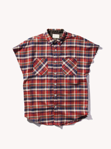 Cut Off Flannel Shirt with Side Zip - Londonman