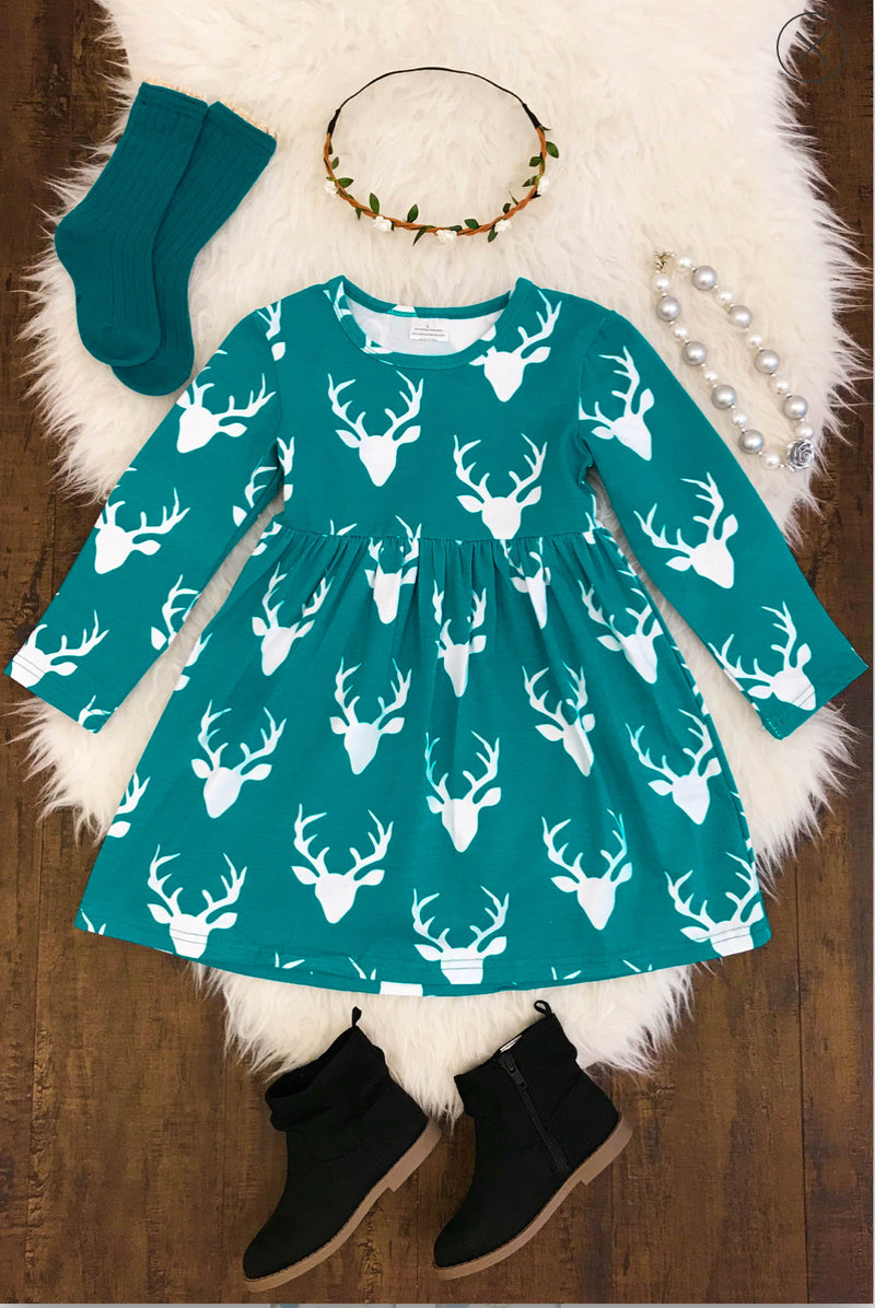 Oh Deer - Teal Christmas Dress