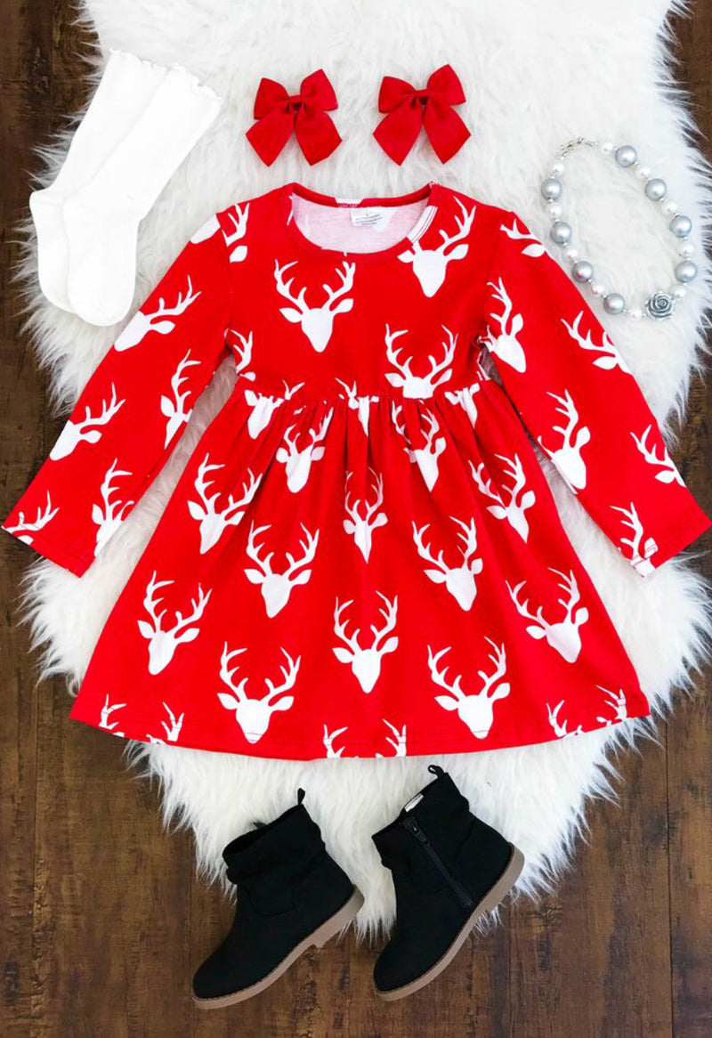 Oh Deer - Red Christmas Dress