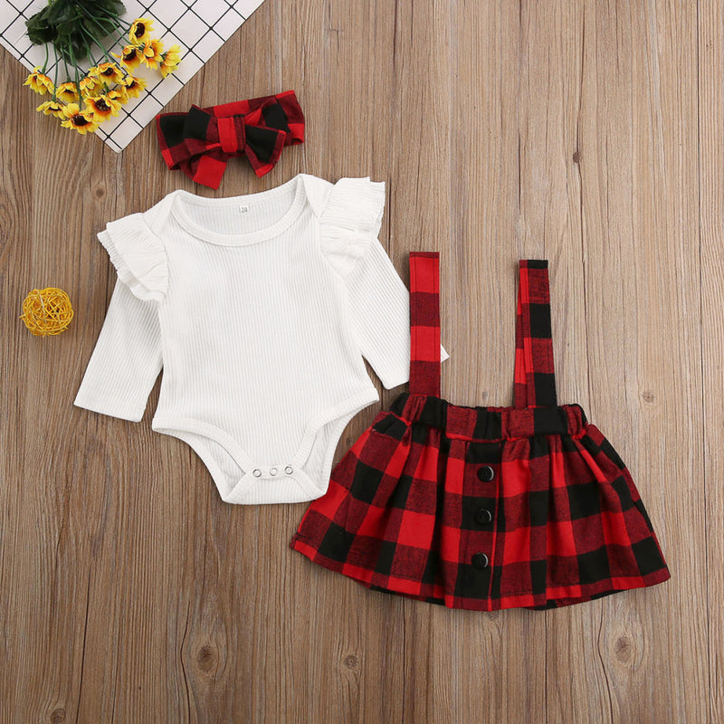 Baby Girl Plaid Suspender Skirt Set