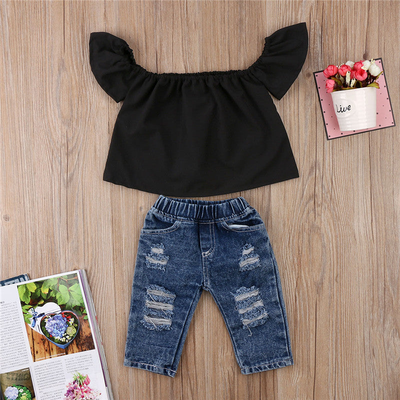 Shanda 2 piece cold shoulder and jean set - Black
