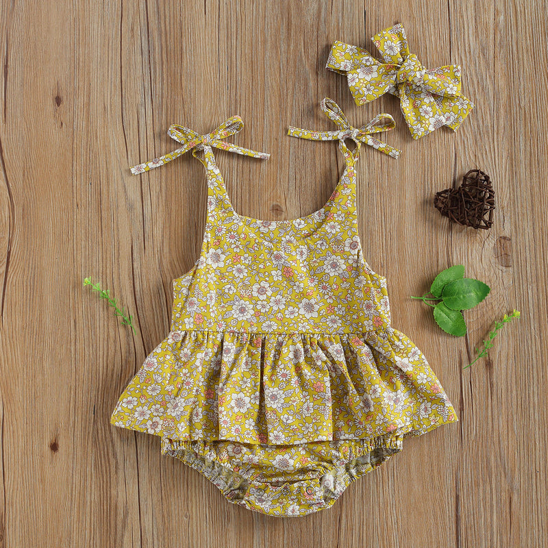 Eleanor Floral Romper - Yellow