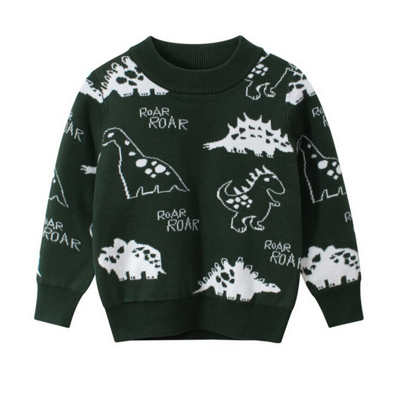 Dinosaur Printed Pullover Sweater - Green