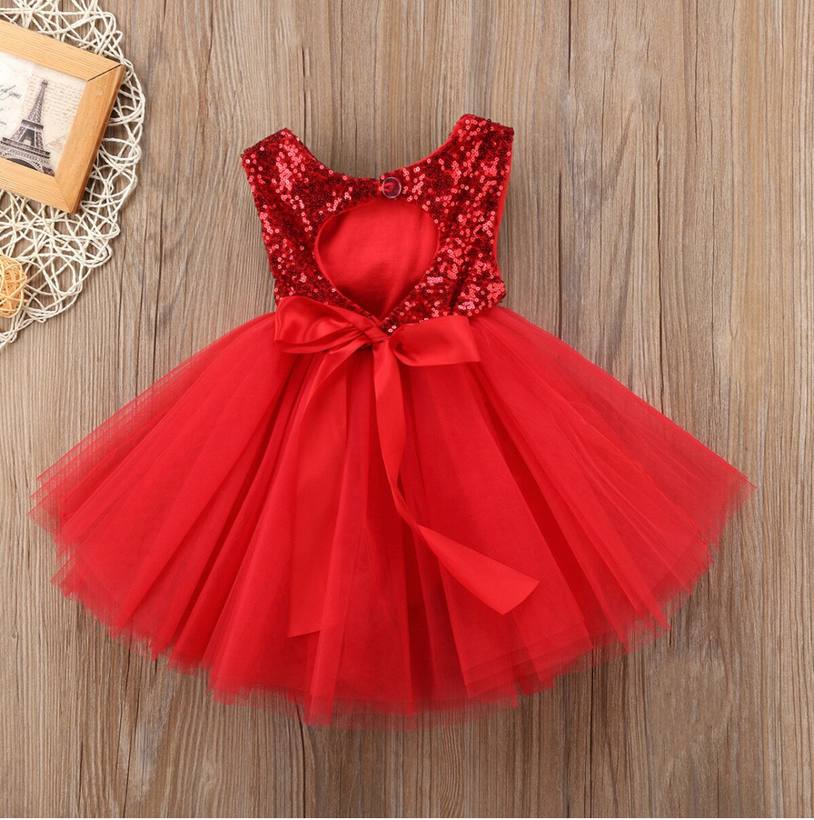 Sequined Tutu Dress - Red