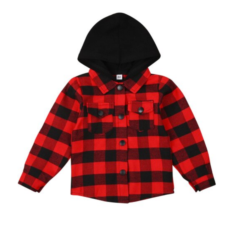 Plaid Hooded Jacket - Red