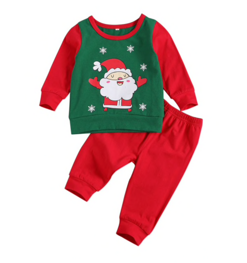 Santa Green and Red Sweater and Pants Set