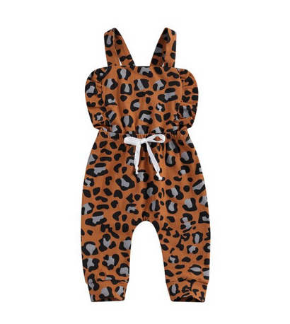Noe Cross Back Romper -  Brown Leopard