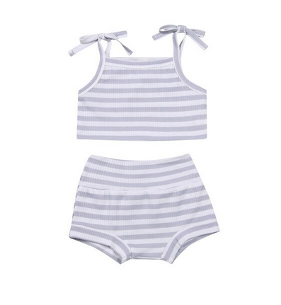 Ellie Ribbed 2 Piece - Gray Striped