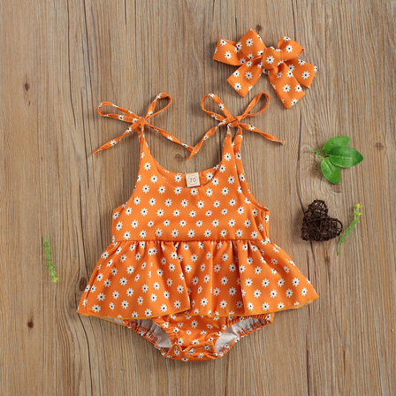 Eleanor Floral Romper - Orange
