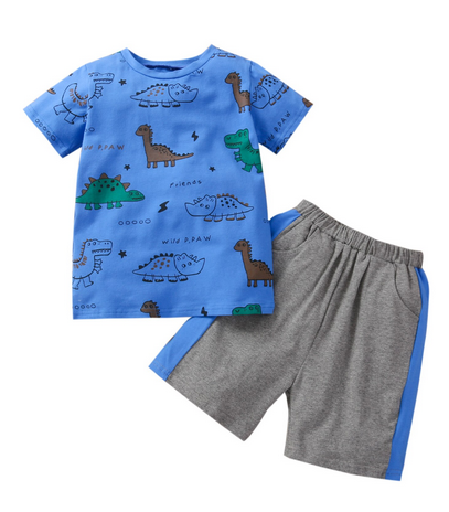 Relaxed Dino 2 Piece - Blue