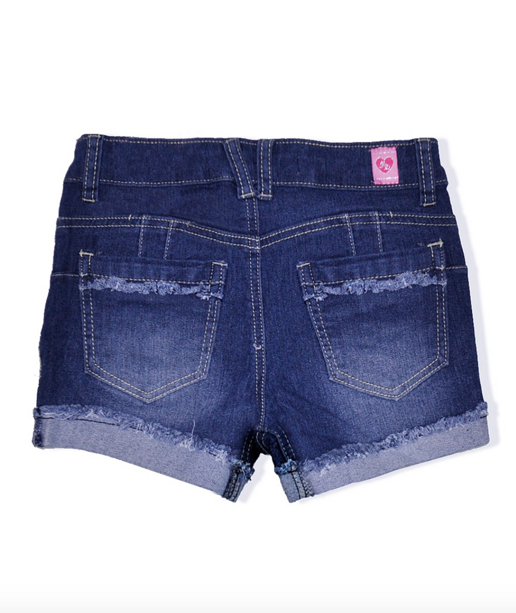 Dark Denim Solid Wash Short w/ Fray Distress