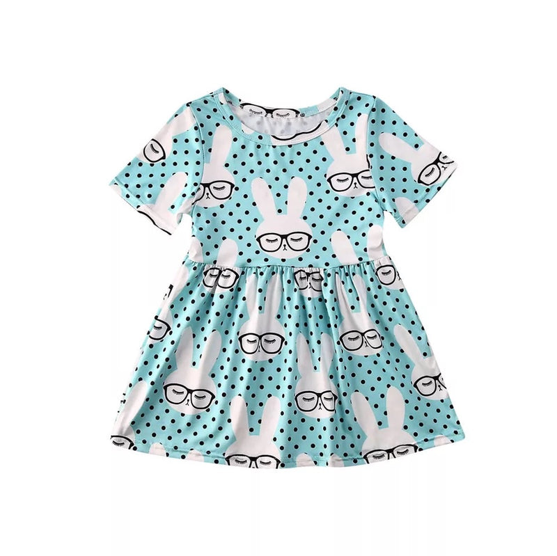 Animated Bunny Pleated Dress - Blue