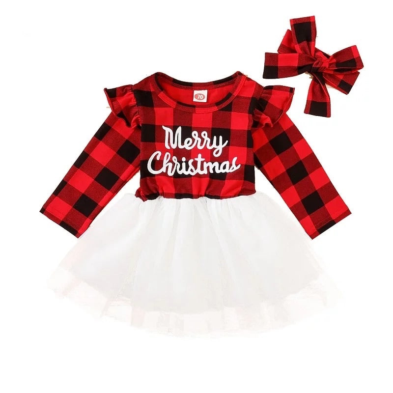 Merry Christmas Plaid Tutu Dress