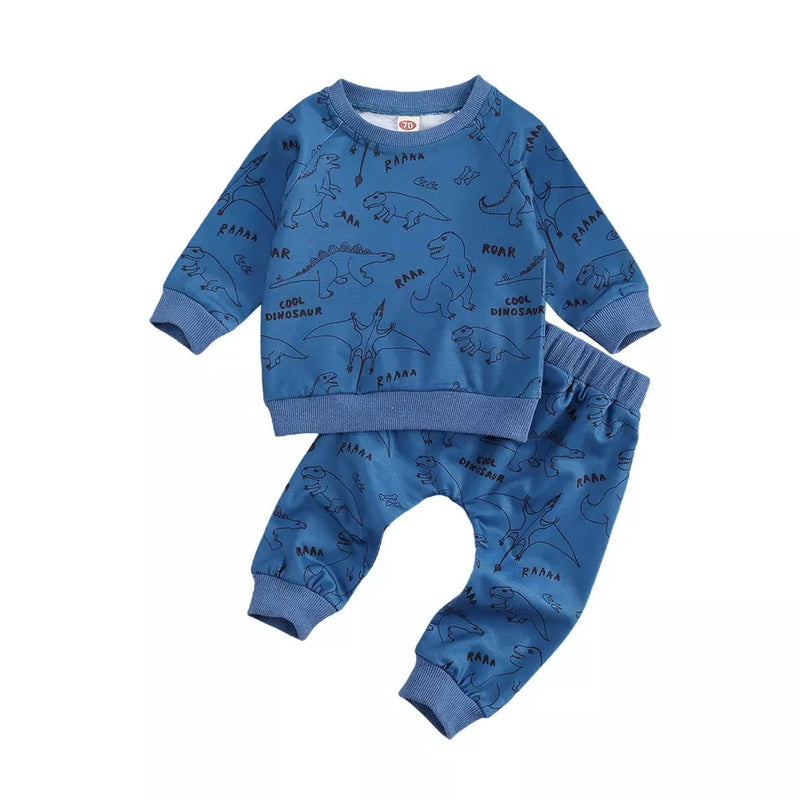 Roar Dinosaur Sweater and Pants Set - Blue