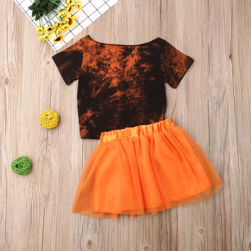Halloween wide neck top and tutu set
