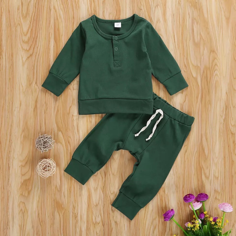 Liam Solid Sweater and Pants Set - Green