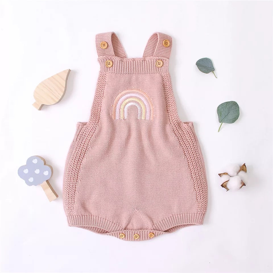 Rainbow Knitted Romper - Pink