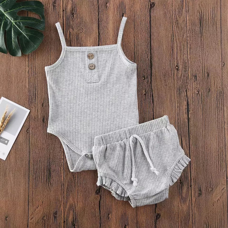 Evelyn 2 Piece Bloomer Set - Gray