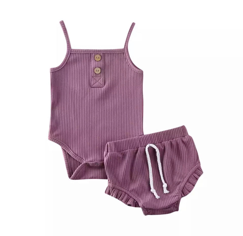 Evelyn 2 Piece Bloomer Set - Purple