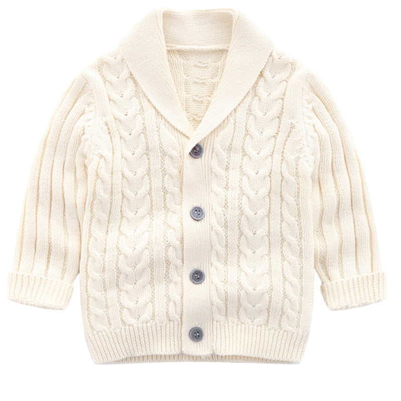 Knitted Boy Cardigan - White