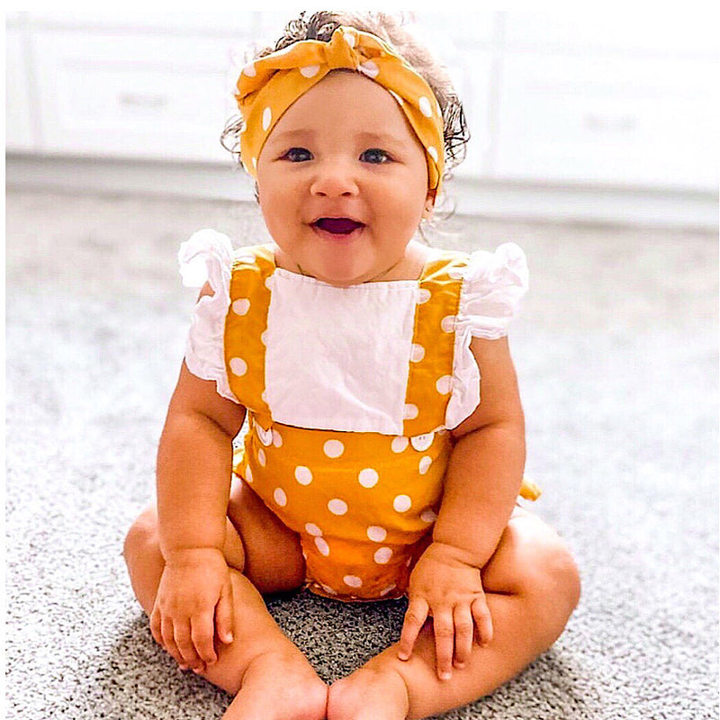 Shelby Cross Back Ruffled Sleeved Romper -Yellow Polka Dot