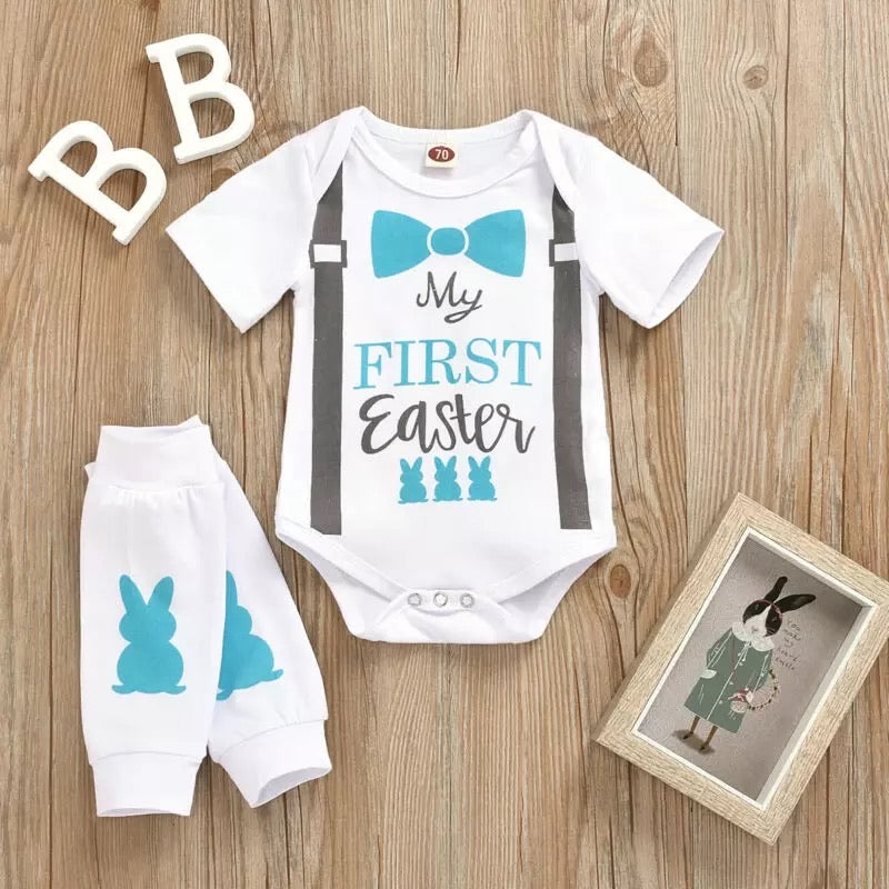 My 1st Easter Suspender and bow onesie set