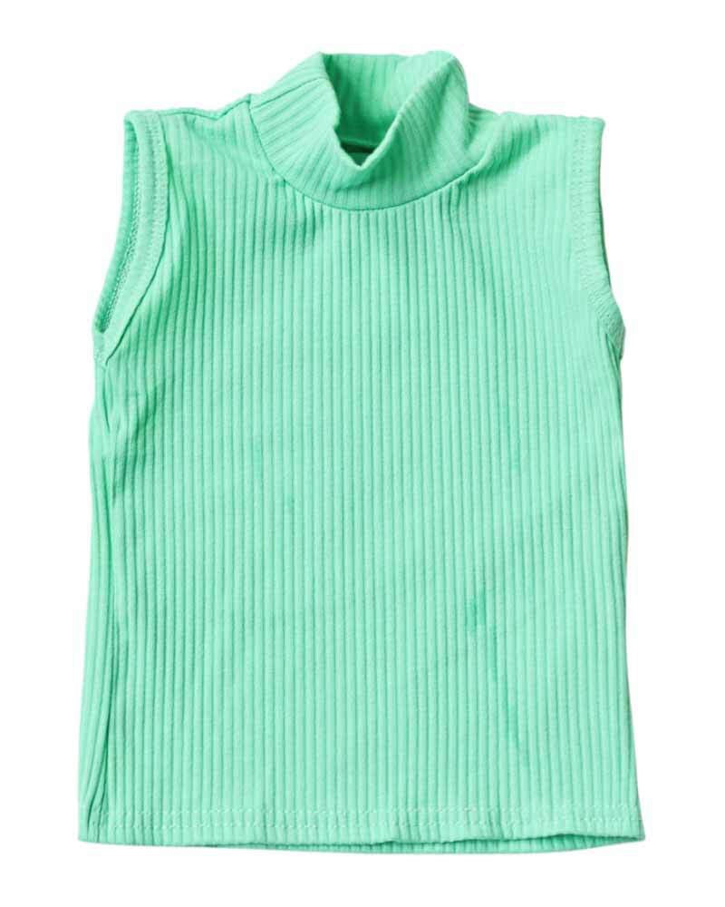 Aqua Ribbed Sleeveless Turtleneck
