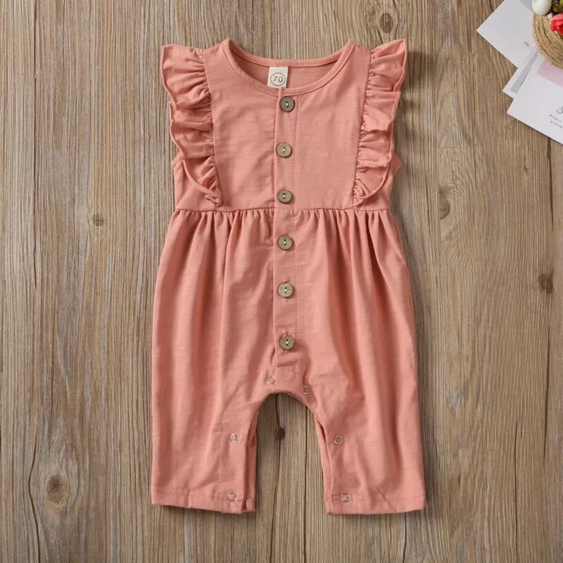 Lacey Fluttered Romper - Peach