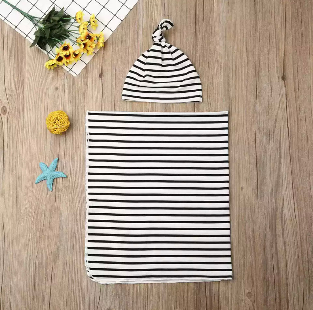 Receiving Blanket and Turban Beanie Set - Black and white stripe
