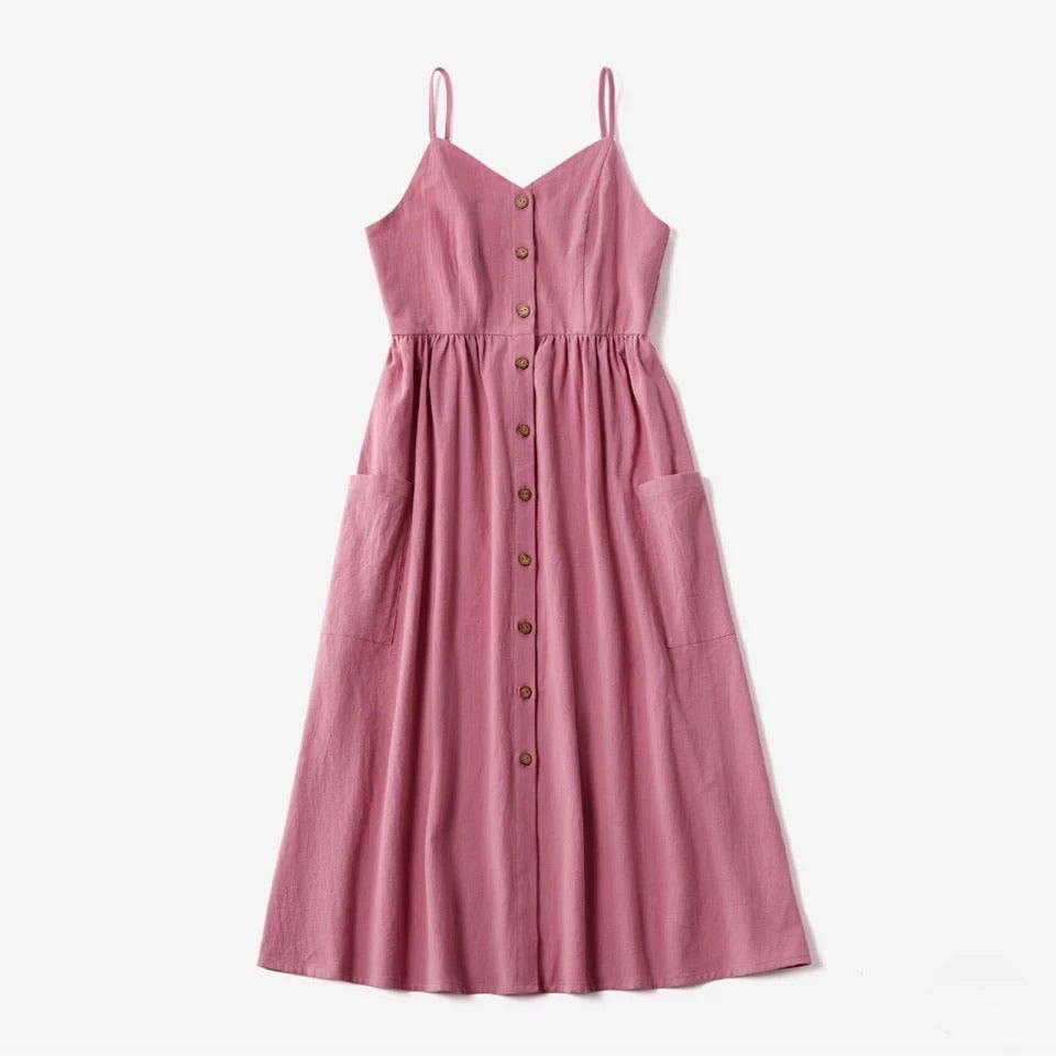 Pink Button Up Dress - Mom