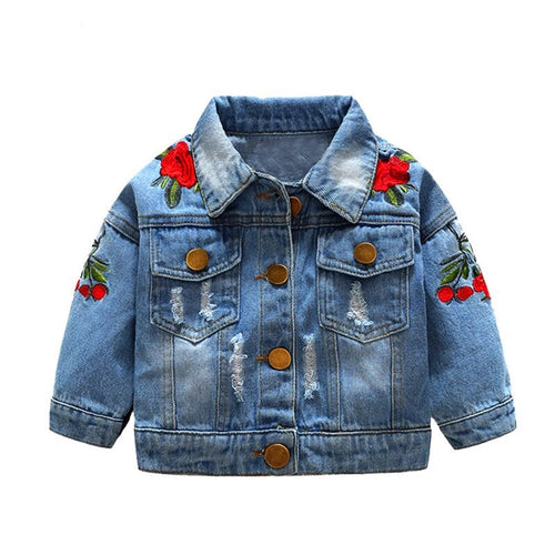 Rose Distressed Jean Jacket