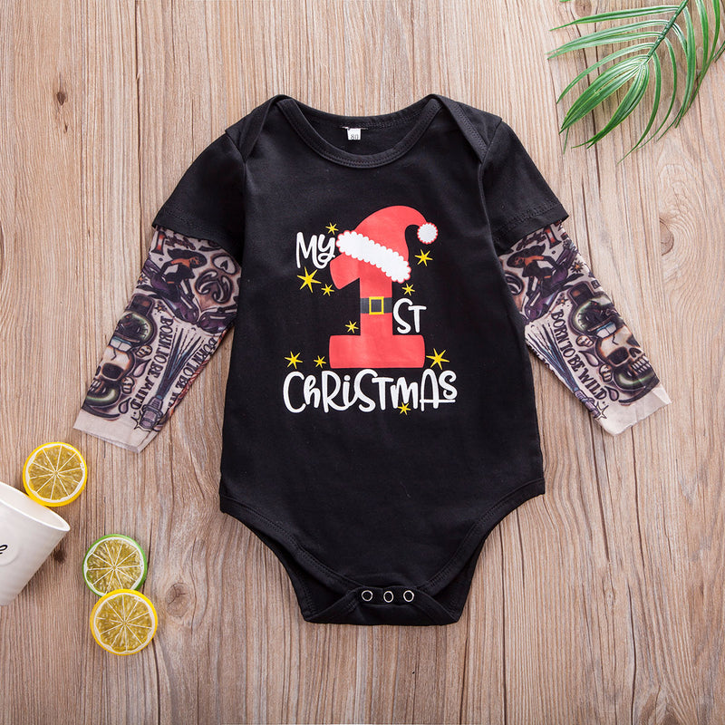 My 1st Christmas Tattooed Sleeve Onesie