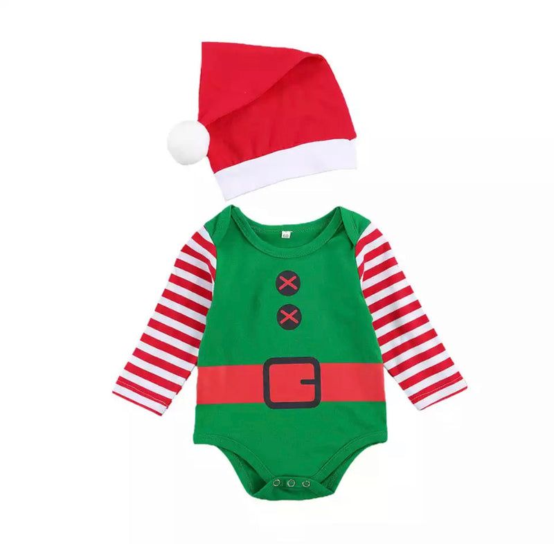 Santa's Helper Onesie Set - Striped