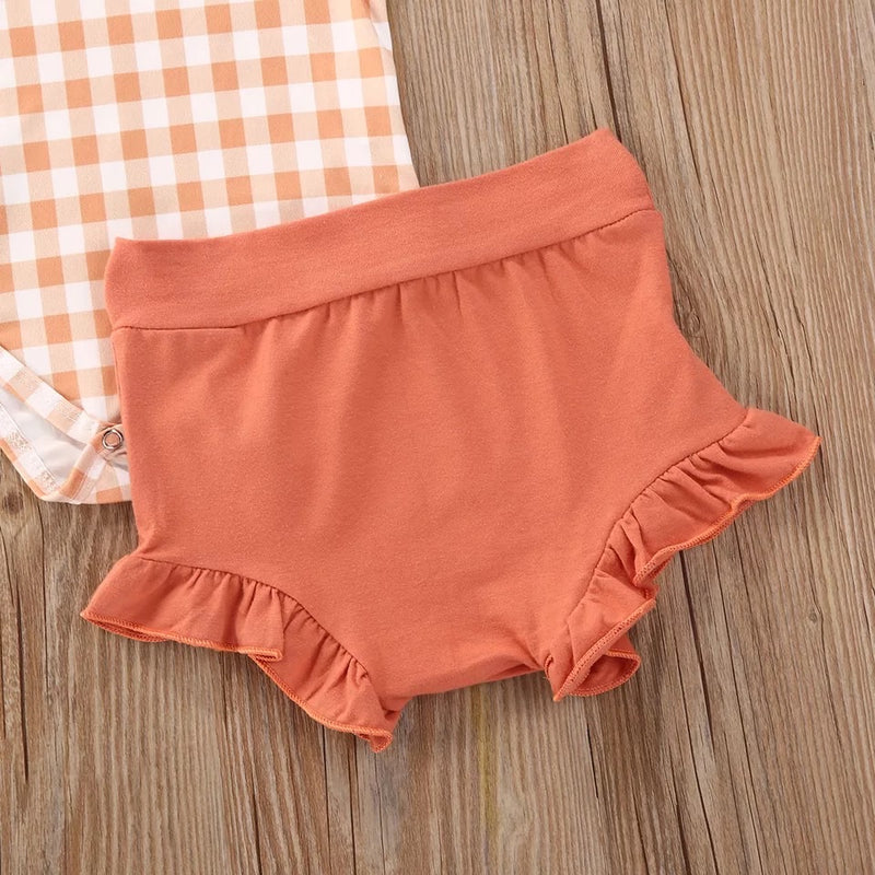 Orange Plaid 3 Piece Bloomer Set