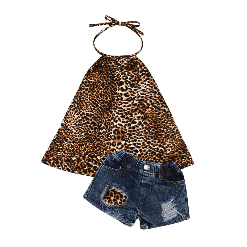 Leopard print halter top and distressed shorts