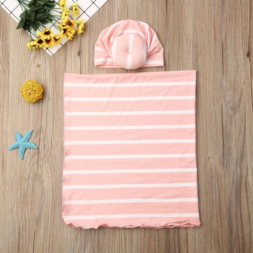 Receiving Blanket and Turban Beanie Set - Pink and white stripe