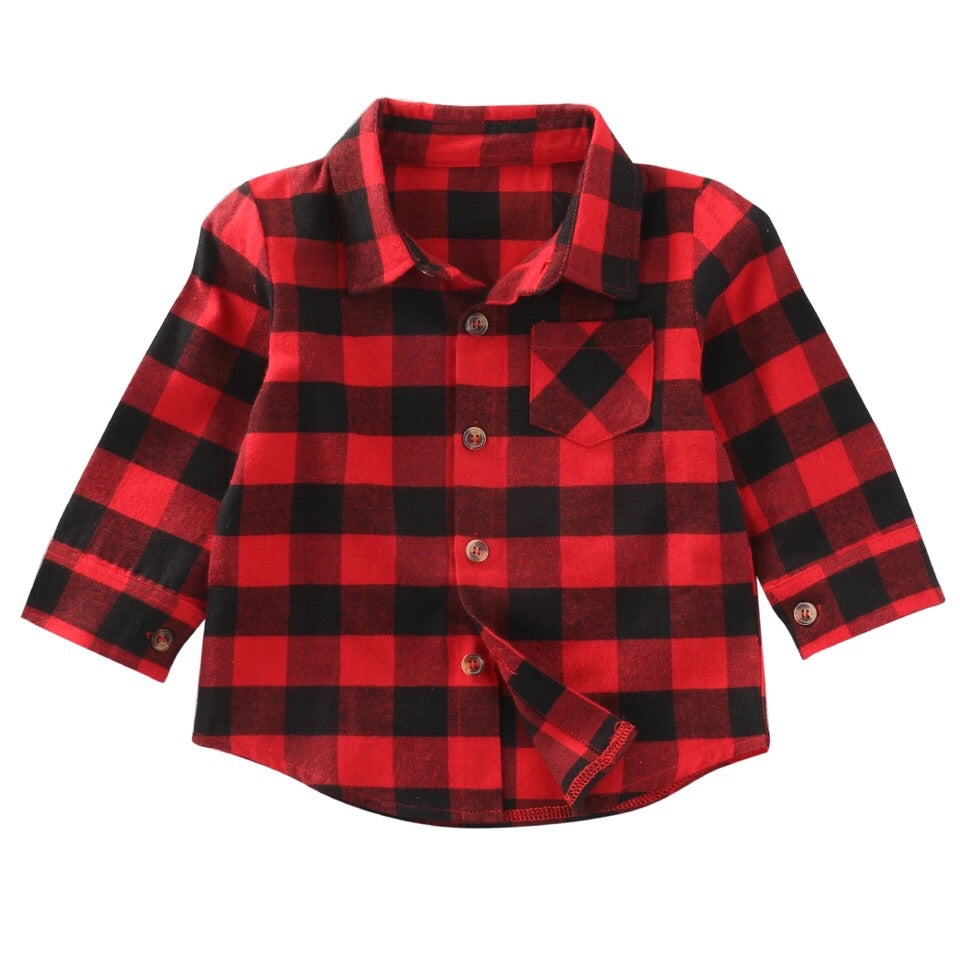 Red and Black Plaid collard shirt