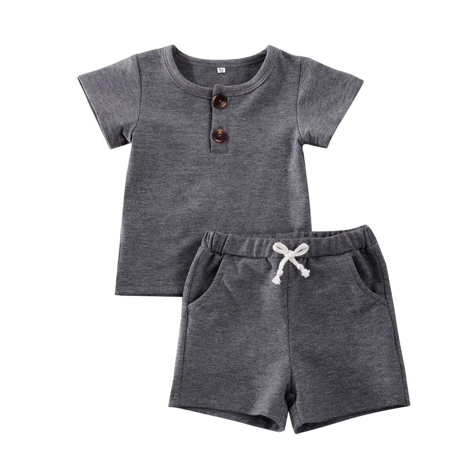 Louis 2 Piece Cotton Set - Gray