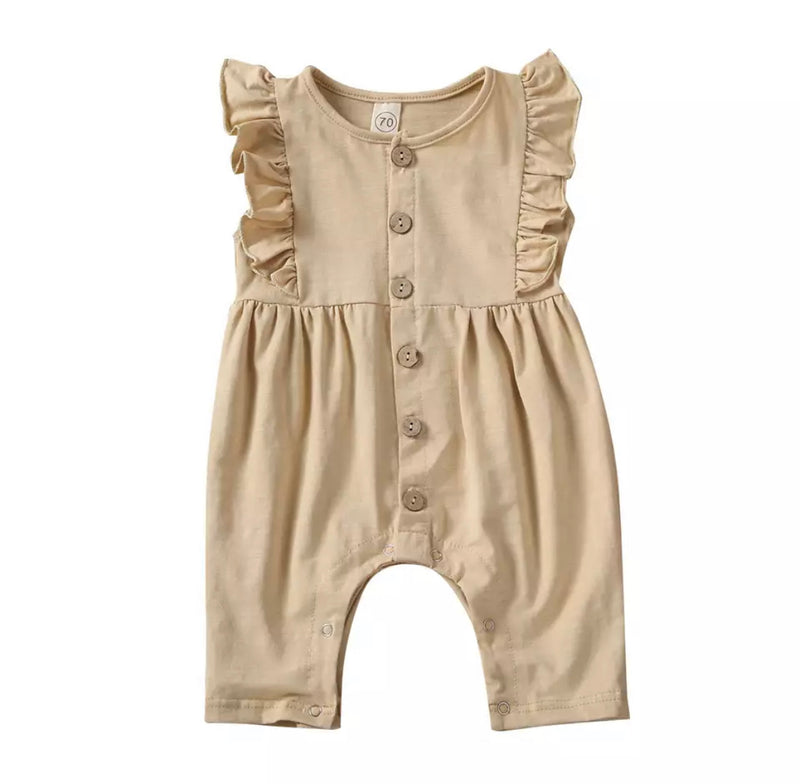 Lacey Fluttered Romper - Tan
