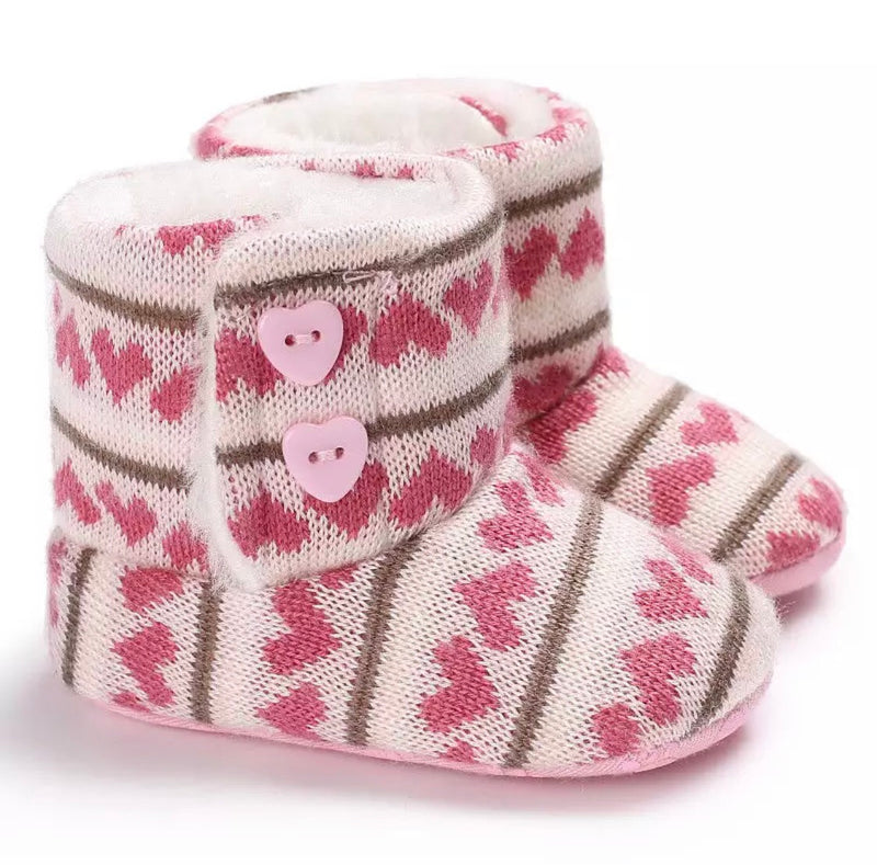 Baby Girl Boots - White & Hearted Print
