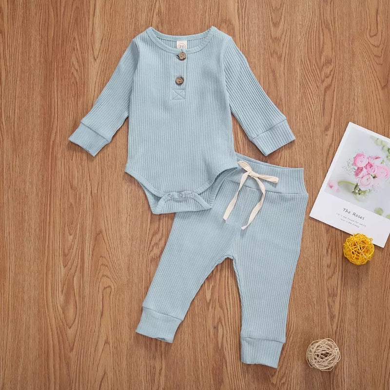 Basic Baby Ribbed Onesie and Pants Set - Blue