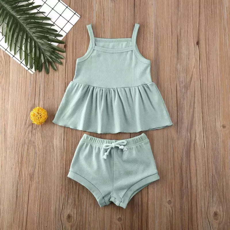 Taylor 2 Piece Baby Doll and Shorts Set  - Green