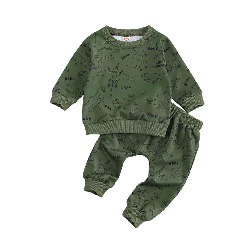 Roar Dinosaur Sweater and Pants Set - Green
