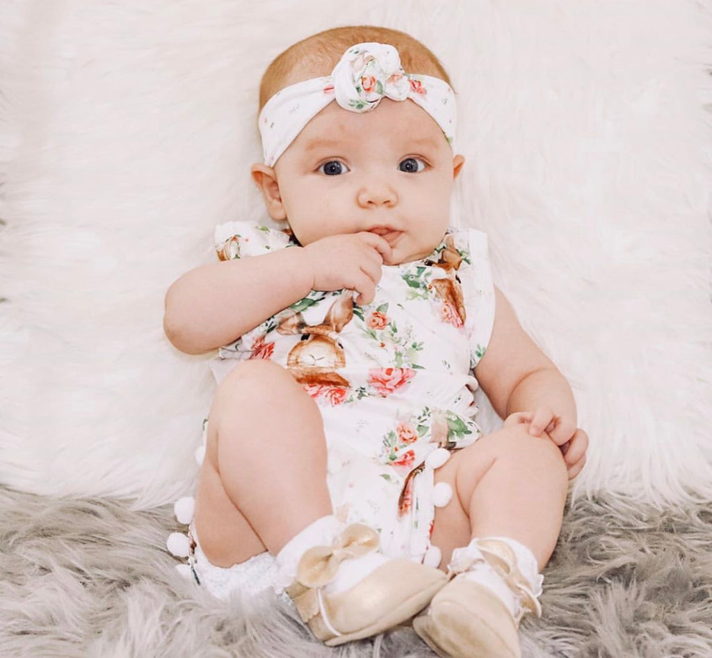 Rabbit Pom Pom Onesie and Headband Set
