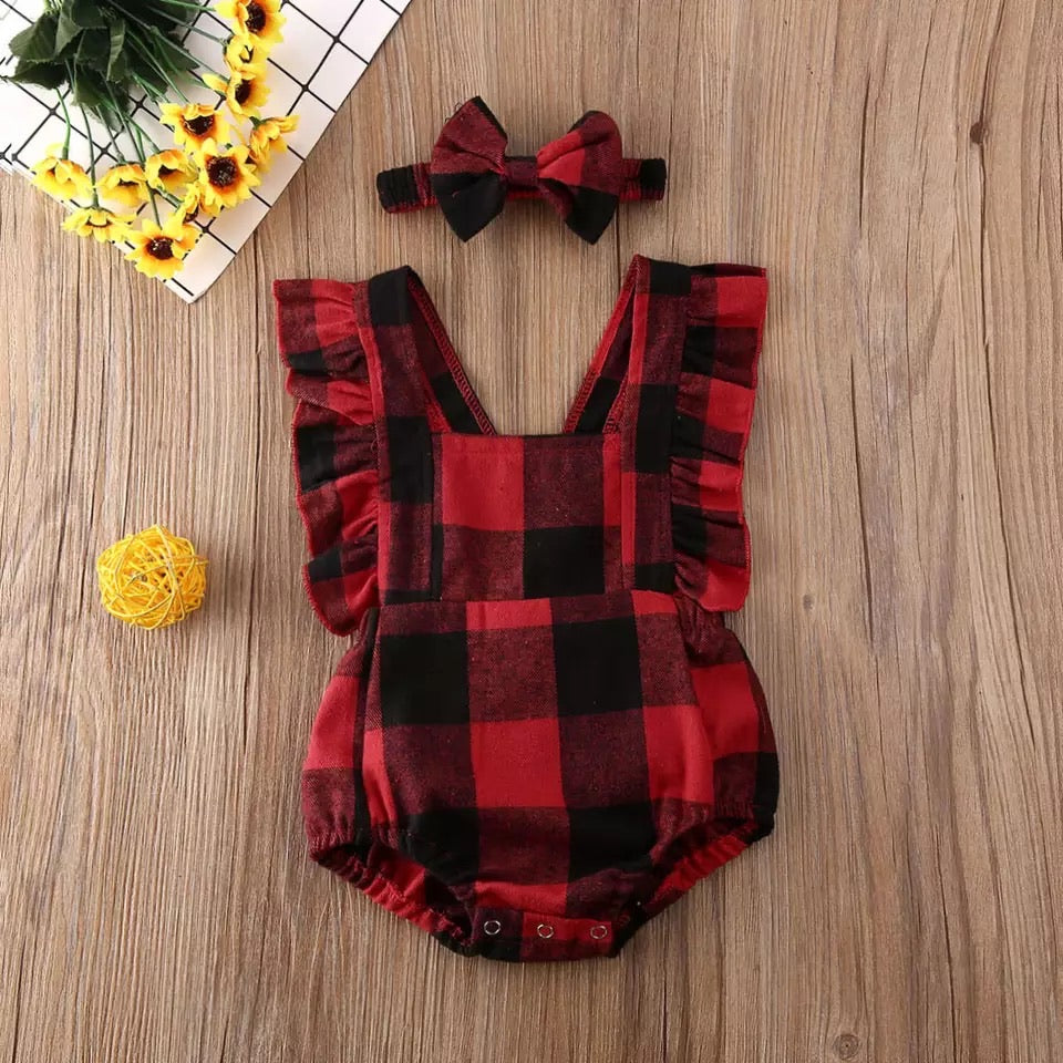 Christmas plaid cross back onesie set