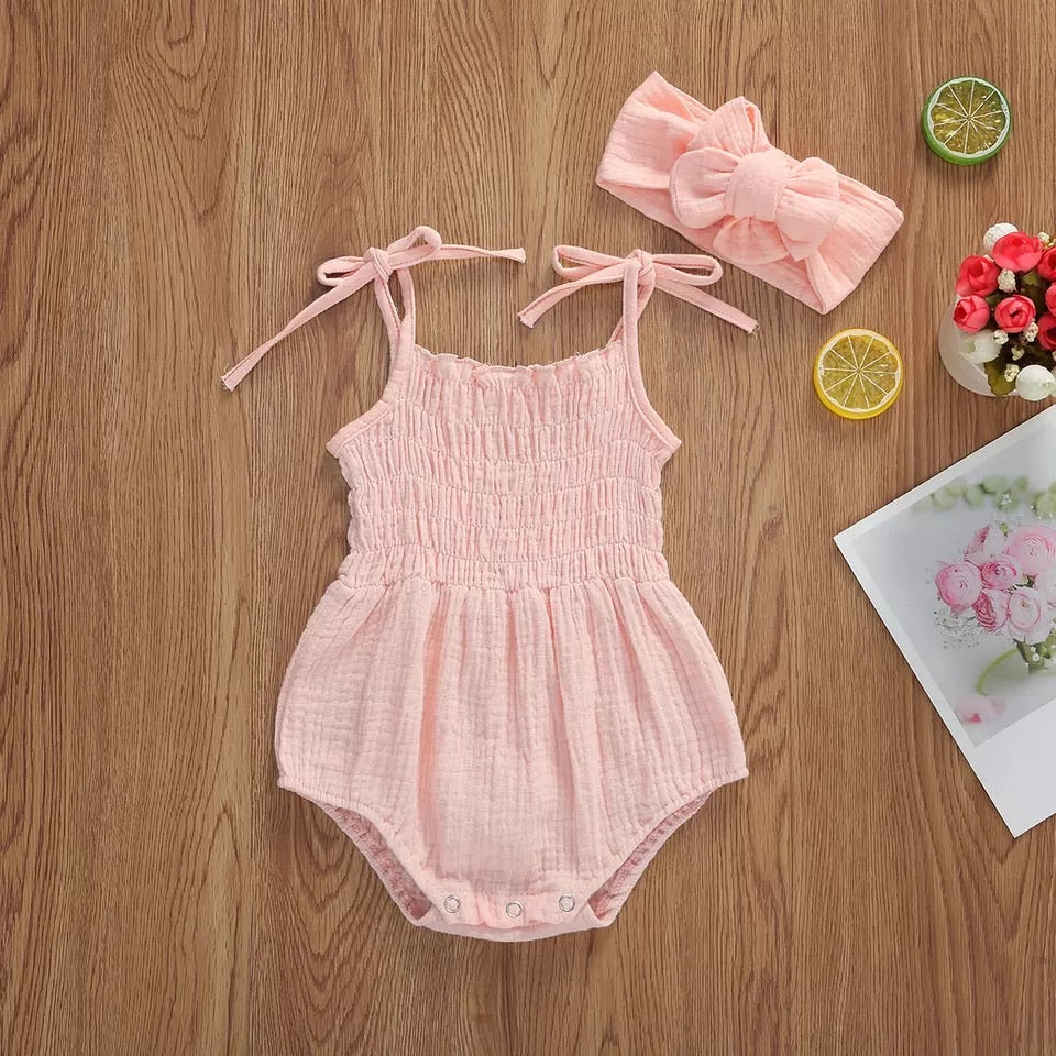 Loose fit tied spagetti strap onesie - Pink