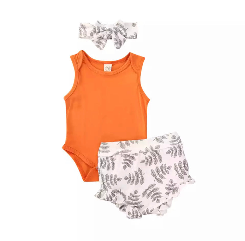 Fern Leaves 3 Piece Bloomer Set