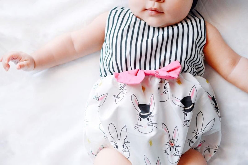 Easter stripes and bunny onesie