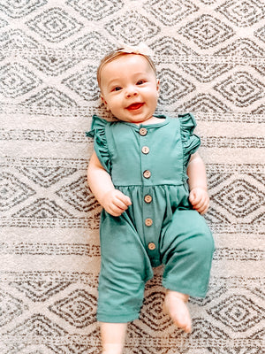 Lacey Fluttered Romper - Green