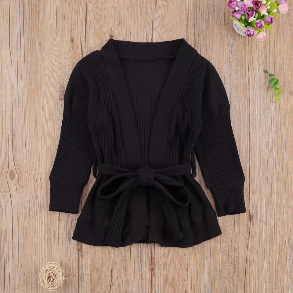 Open-Front Rib Cardigan - Black